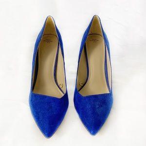 Women's Zara TRF Cobalt Blue Suede Pointed Heels